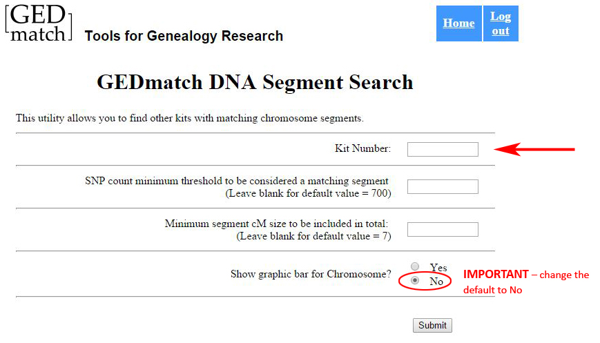 GEDmatch Matching Segment Search Screen