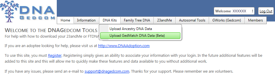Upload GEDmatch DNA Data Link