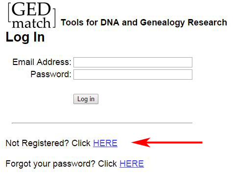 GEDmatch Log in or Registration