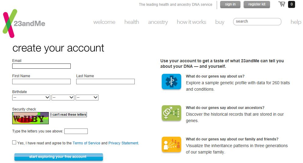 Create Your Account screenshot (as of 30 Nov 2013)